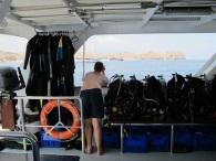 duikspullen op de boot